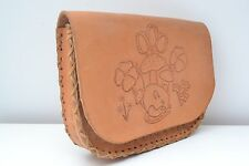 Gorgeous 70s vintage tooled tan leather clutch bag