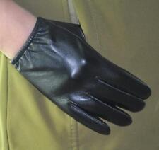 Men's Genuine Sheep Leather Touch Screen Wrist Gloves Elastic Wrist Black
