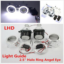 "H1/H4/H7 Pair 2.5"" Halo Ring Angel Eye Bi-xenon Projector Lens LHD/RHD Headlight"