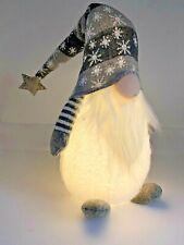 Christmas 40cm Light Up White Scandinavian Boy Snowflake Gnome Gonk GREY  Hat