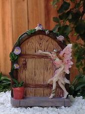 Miniature Dollhouse Fairy Garden ~ Mini Door with Flower Pot & Pink Fairy ~ New
