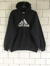 USA OLD VINTAGE RETRO BLACK ADIDAS ATHLETIC 90'S SWEATSHIRT SWEATER HOODIE UK M