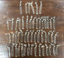 Rare Old Vintage 50 Pc Crystal Cut Glass LUSTER Chandelier Prisms 3 1/2 Inches