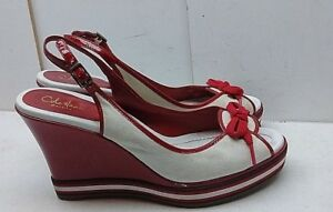 Cole Haan NikeAir Red White Leather Slingback Wedge Heel Sandal Women's Shoes 8B