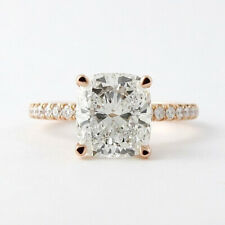 Solitaire Diamond Engagement Ring 2.30 Ct Cushion Cut Moissanite 14k Rose Gold