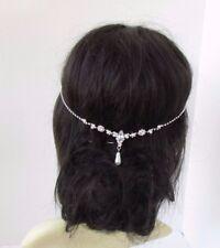 Silver Ivory Pearl Diamante Bridal Headpiece Wedding Hair Jewellery Vine 4393