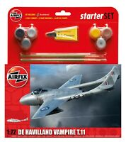 Plane Model Kit Airfix De Havilland Vampire T11 Medium Starter Set