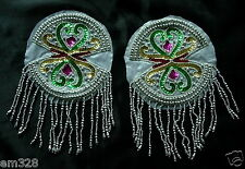 EP15 Bra Cup Fringed Sequin Beaded Applique Dancewear/Samba/Belly Dance 2pcs