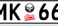 AU Ersatz Plakette Nummernschild Aufkleber Punisher negativ Kawasaki Honda Ninja