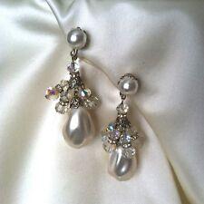 Stunning Costume Large Baroque Pearl & Crystal AB Bead Vintage Clip Earrings