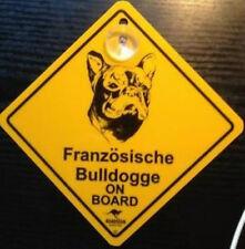 12cm Roadsign Schild mit Saugnapf FRANZÖSISCHE BULLDOGGE