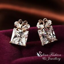 18K Rose Gold Plated Simulated Diamond Square Cut Butterfly French Clip Earrings