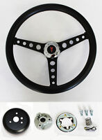 1964-1966 Pontiac Grand Prix LeMans Black on Black Steering Wheel 14 1/2""