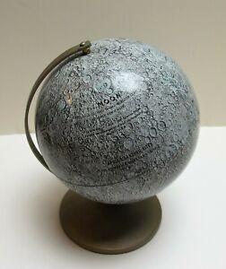 "RARE Vintage 1968 The Moon Globe Replogle 6"" Metal Planned Apollo Landing Sites"
