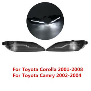 For Toyota Camry 2002-2004 2Pcs Clear Front Bumper LED Fog Light DRL Lamp LH+RH