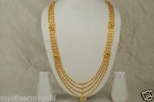 Indian 4-Liner Gold Plated Chain Necklace Women Pink CZ Fashion Jewelry 15Inches
