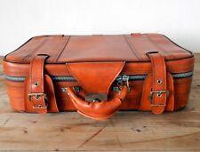 Stylish 1970s Vintage Retro Flight Train Plane Case Suitcase Brown Tan
