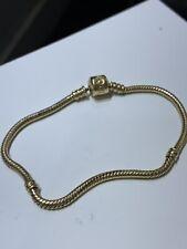 "$1300 Authentic Retired Pandora 14k Gold Bracelet & Lock Size 8"""