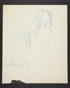 Andy Warhol Rare Vintage 1950s Unknown Female Original Line Drawing TOP207.020