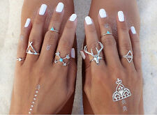 7PCS/set Punk Vintage Silver ETHNIC turquoise BOHO Knuckle MIDI Finger Rings