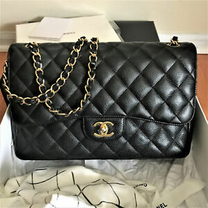 Authentique Chanel Black Caviar Jumbo Classic 2.55 Double Flap Bag Gold HW