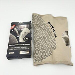 Physix Gear Knee Support Brace - Best No-Slip Knee Brace Tan Beige XXL 2XL NEW