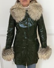 Vintage Dolce & Gabanna Women's Green Leather Jacket With Real Fur Trim Size 40