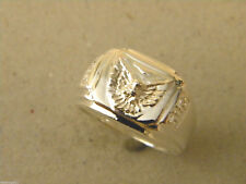 Men's Silver Plated Square Flat Top Eagle Falcon Ring Size 11 Fashion Jewelry