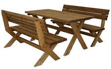 Classic - Set da giardino composto da tavolo e panche in legno di pino massiccio