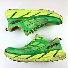 Hoka Men's Clifton 2 Size 10 Running Shoes Green Yellow 1008328 Pre Owned