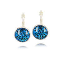 Vintage Style Blue & Black Tree of Life Silver Cabochon Drop Earrings E1068