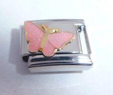 PINK BUTTERFLY Italian Charm Glitter Wings Butterflies fits Classic 9mm Bracelet