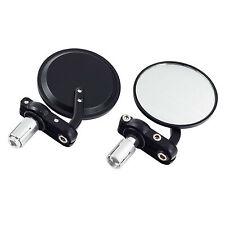 """Black Motorcycle 3"""" Round 7/8"""" Handle Bar End Rearview Mirrors For Honda Harley"""