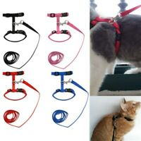 Pet Cat Kitten Nylon Adjustable Walking Control Harness Lead Leash Collar Belt