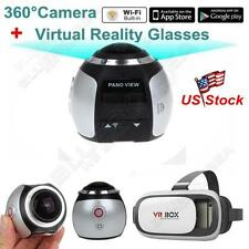 360*220° Sport Action Wifi Camera Panoramic Helmet Cam Sliver+3D VR Glasses Box