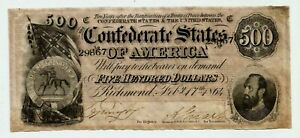 1864  $500  DOLLAR BILL CONFEDERATE STATES OF AMERICA