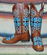 Womens Broken T (Corral Style) Brown / Blue Handcrafted Cowboy Boots 7 B New NIB