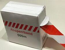 500m Rolle ABSPERRBAND rot/weiß Flatterband Warnband Trassenband im Karton
