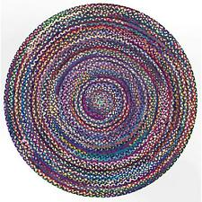 Round Braided Area Rug Cotton Hardwood Floors Natural Recycled Rug  Various Size