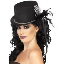 Ladies Gothic Halloween Day Of The Dead Black Skeleton Top Hat Costume Accessory