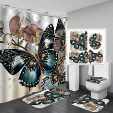 Beautiful Butterfly Bath Mat Toilet Cover Rug Shower Curtain Bathroom Decor