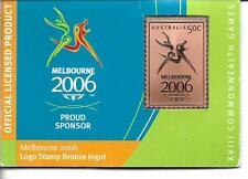Melbourne 2006 Commonwealth Games Australia 50c Logo Stamp Bronze Ingot