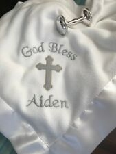 "PERSONALIZED Christening Baptismal  Satin Trim Blanket 36'x50"" with Baby Rattle"