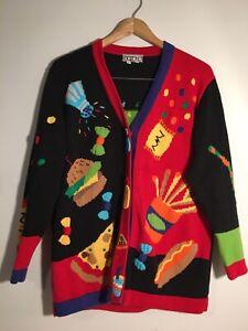 "Vintage BEREK2 Cardigan Sweater ""Fast Food"" Theme Pizza Burgers Fries Size M EUC"