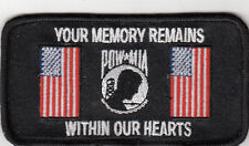 POW MIA Memory Remains Within Heart Embroidered Biker Patch