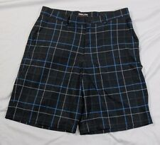 Kirkland men's casual flat front shorts gray plaid size 32 polyester blend