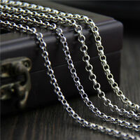 Fine 925 Sterling Silver Round Rolo Link Chain Necklace -Choose the Length