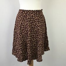 Vintage St Michael M&S Aubergine Leaf Pattern Short Skirt Uk 14 W 26 Retro 1990s