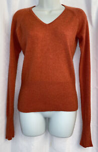 Griffen Womens Sweater 100% Cashmere V Neck Orange Long Sleeve Size Small
