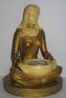 Teelichthalter Meditation Kerzenhalter Frau mit Schale Jugendstil Stil, 17x12cm